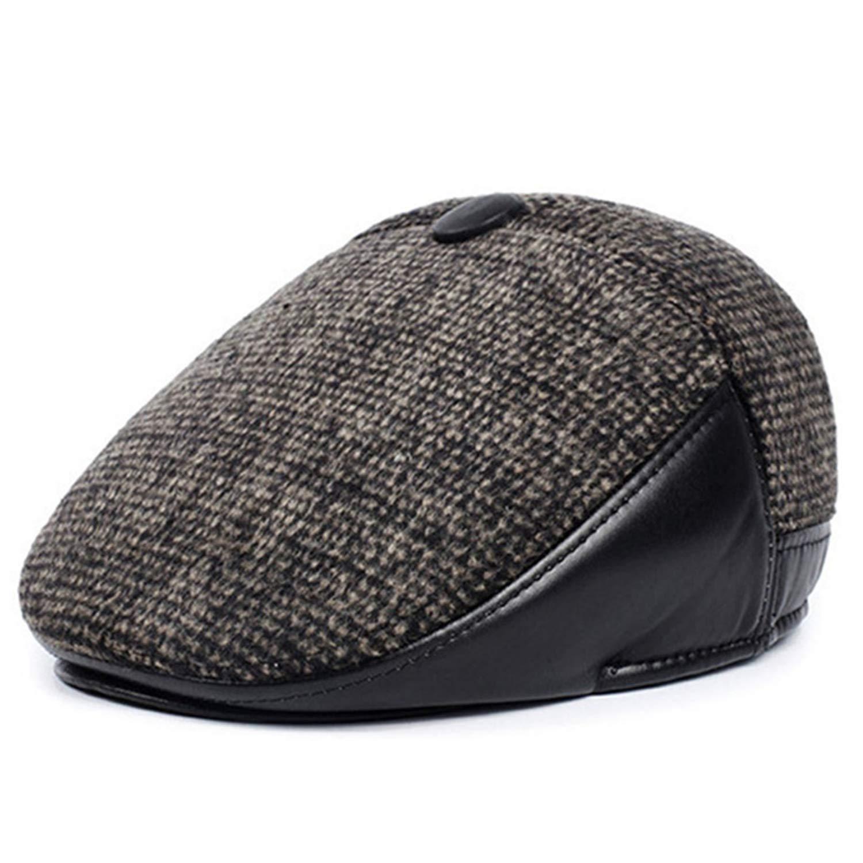 CoolBao Mens Hat Woolen Thick Warm Berets with Earmuffs Male Bone Dads Hat Trucker Winter Hats