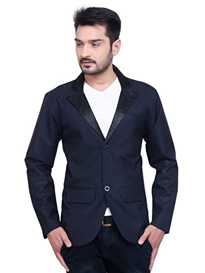 more photos fc956 c2bf6 A.B.C. Garments Dark Blue Matty Cotton Single Breasted Blazer For Men