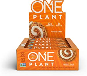 ONE Plant Protein Bars, Carrot Cake, Vegan, Gluten Free Protein Bars with 12g Protein & Only 1g Sugar, Guilt-Free Snacking for High Protein Diets, 1.59 Oz (12 Pack)