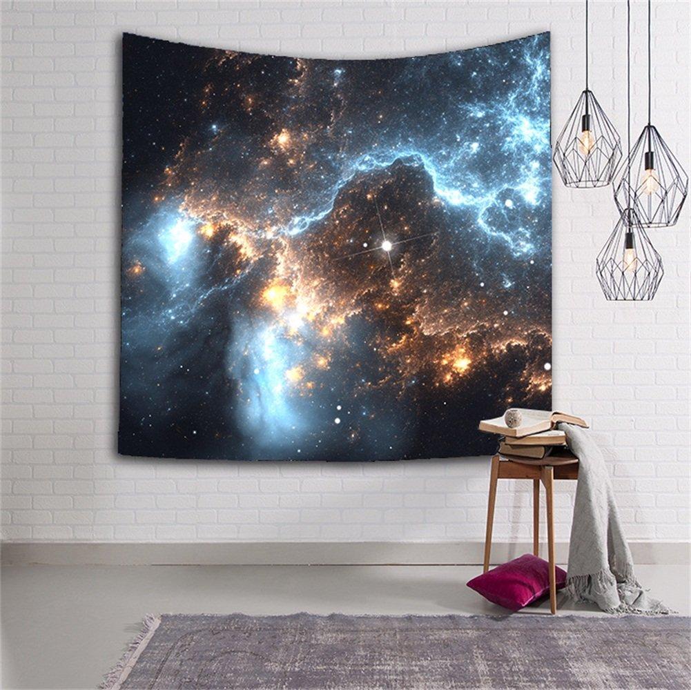 Arazzo decorativo da parete con stampa a motivo stelle e galassie, ideale per soggiorno, camera, dormitorio o come regalo di Natale (HYC06) 1# HENSE