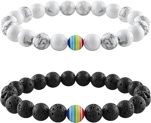 Nanafast Rainbow Pride Bracelet LGBT Relationship Bracelets Adjustable 8mm Lava Rock White Howlite Beaded Bracelet for Men Women