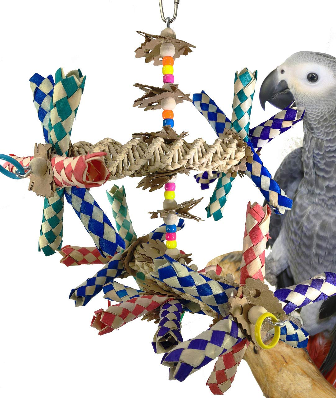 DOUBLE HELIX BIRD TOY parred cage toys cages cockatiel conure african grey