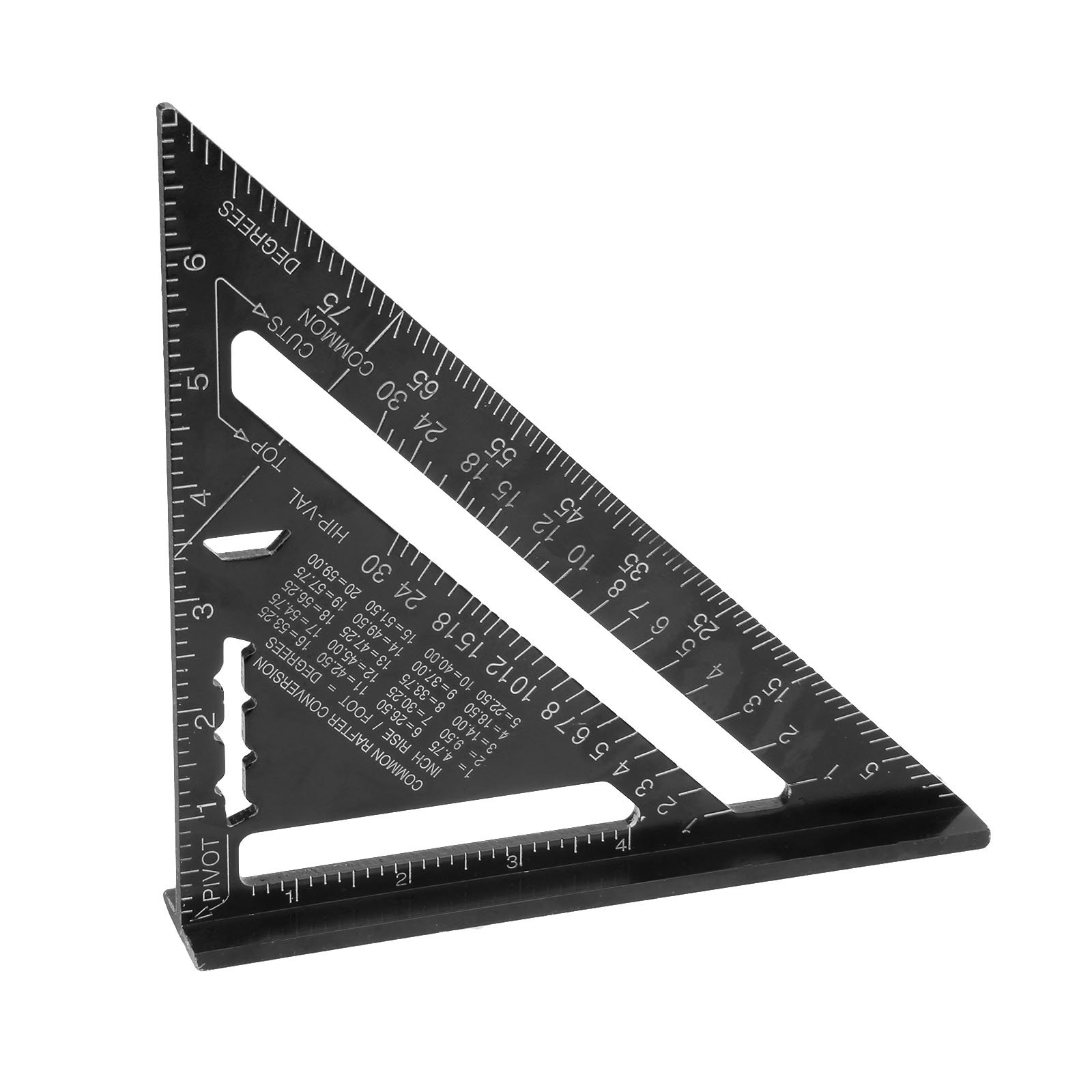 7 Metric Aluminum Alloy Black Triangle Woodworking Ruler Angle Protractor Gauge