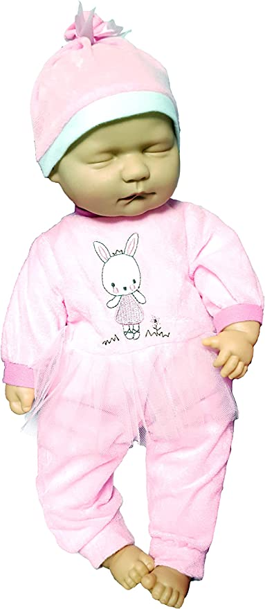 Baby Cuddles New Born Sleeping Soft Bodied Doll with 2 Outfits Gift Box Toy 18/""