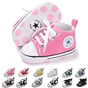Baby Boys Girls Basic Canvas Sneaker Lace Up Infant Prewalk Shoes(0-18 Months) (12cm(6-12 Months), A/Pink)