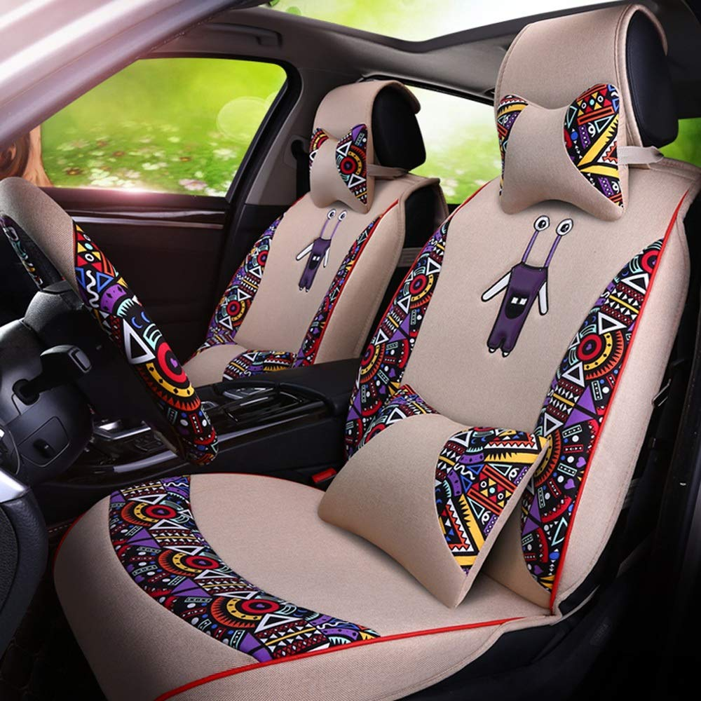5 Seat Full Set Universal Compatible Airbags Front /& Rear Breathable Fabric Comfort Protector Cushion DaFei Car Seat Covers Color : Beige
