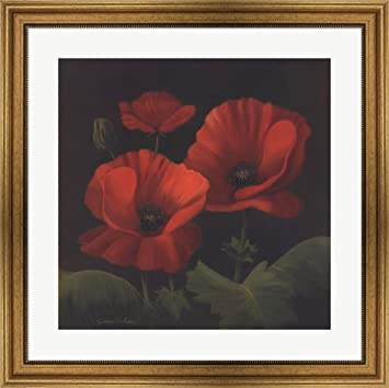 Vibrant red poppies i by gloria eriksen framed art print wall picture wide gold frame