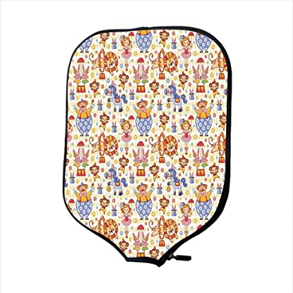 iPrint Neoprene Pickleball Paddle Racket Cover Case,Kids,Carnival Circus Theme with Cheerful Mascots