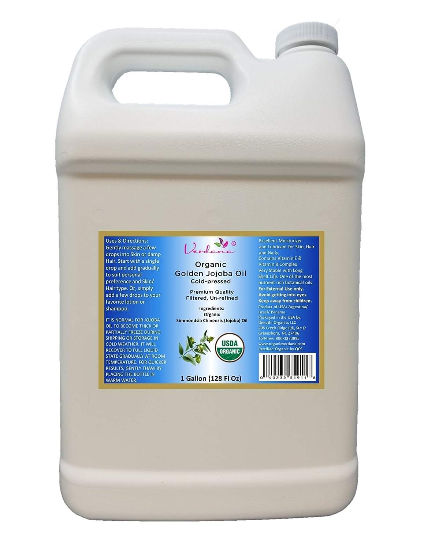 Organic Verdana USDA Certified Organic Golden Jojoba Oil, Cold Pressed, Unrefined, 1 Gallon Bulk size – Hexane Free – Non GMO