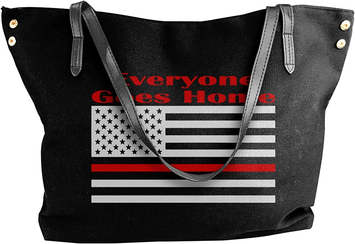 Thin Red Line Everyone Goes Home Canvas Tote Shoulder Bag Casual Handbag For Womens Black