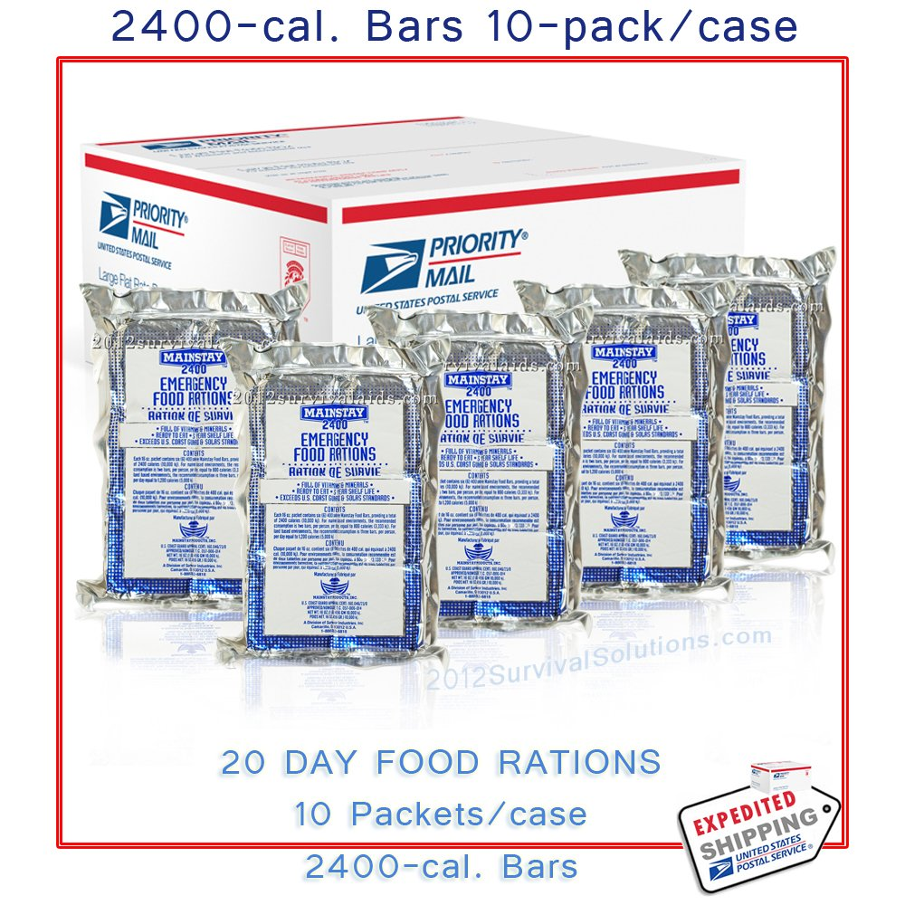 Mainstay Emergency Food Bars 2400 Calorie Ration Pack of 10 5 Year Shelf Life