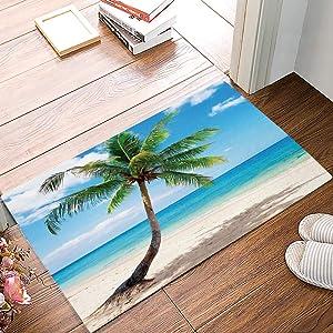 Alago Coconut Palm Tree Sandy Beach Hawaii Doormats Entrance Front Door Rug Outdoors/Indoor/Bathroom/Kitchen/Bedroom/Entryway Floor Mats,Non-Slip Rubber,Low-Profile