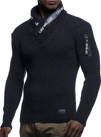 1290d141dc086e LEIF NELSON Herren Strick-Pullover Schalkragen Slim Fit Winter Sommer