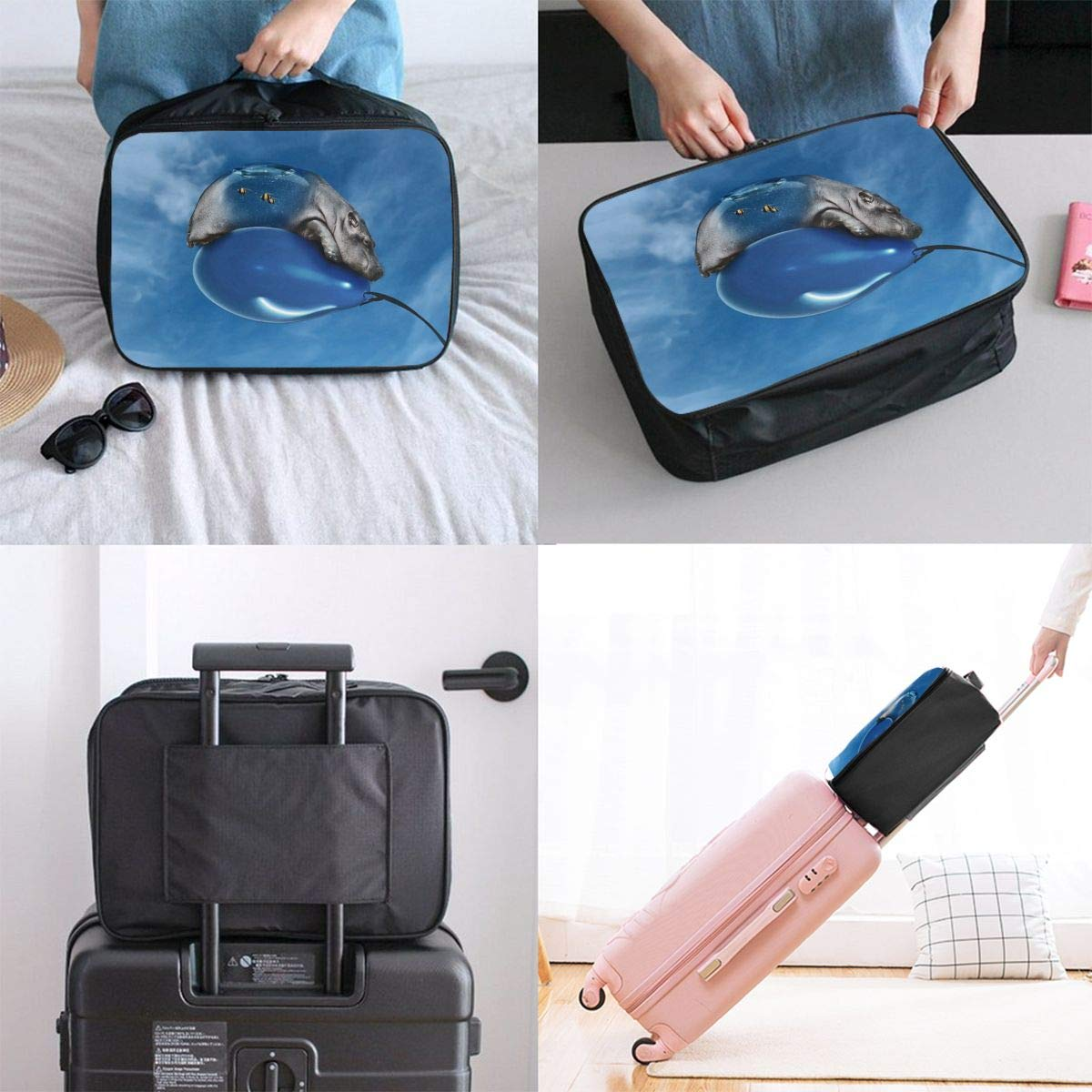 Travel Luggage Duffle Bag Lightweight Portable Handbag Hippo Sky Blue Large Capacity Waterproof Foldable Storage Tote