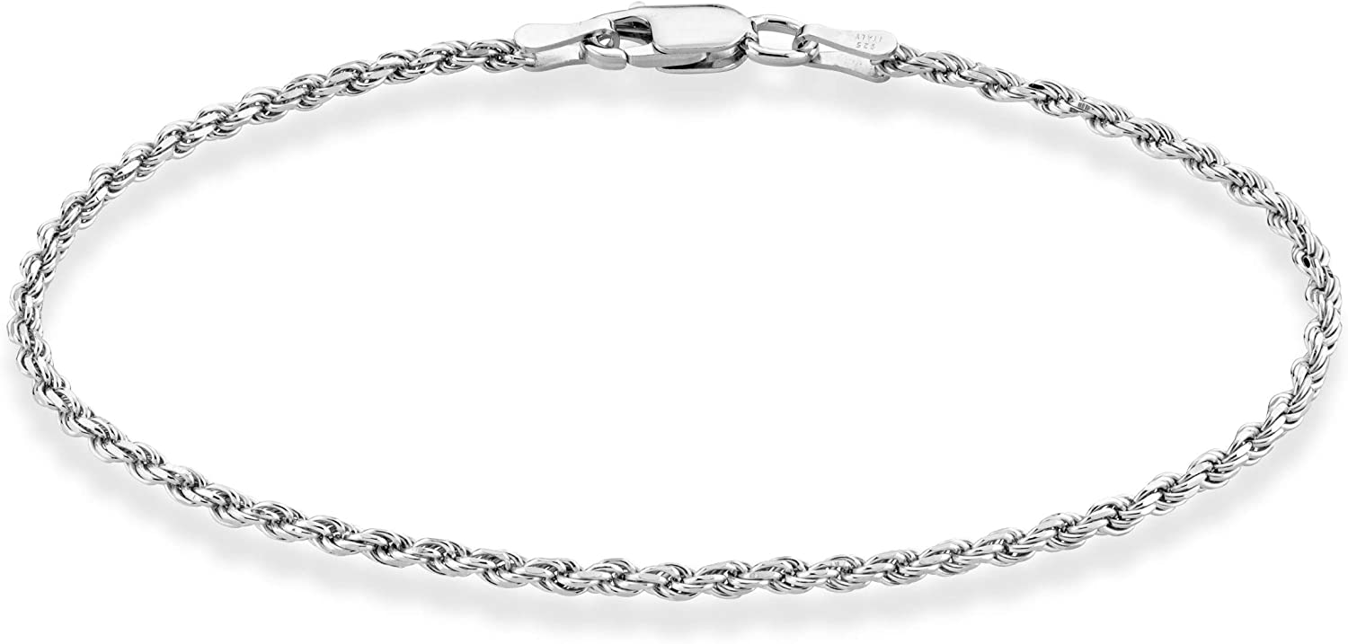 Miabella Solid 925 Sterling Silver Italian 2mm, 3mm Diamond-Cut Braided Rope Chain Bracelet for Women Men 6.5, 7, 7.5, 8, 8.5 Inch Made in Italy