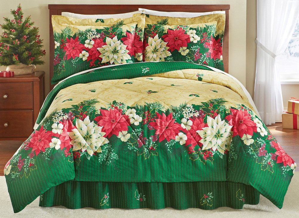 Collections Etc Reversible Christmas Poinsettia Comforter Set