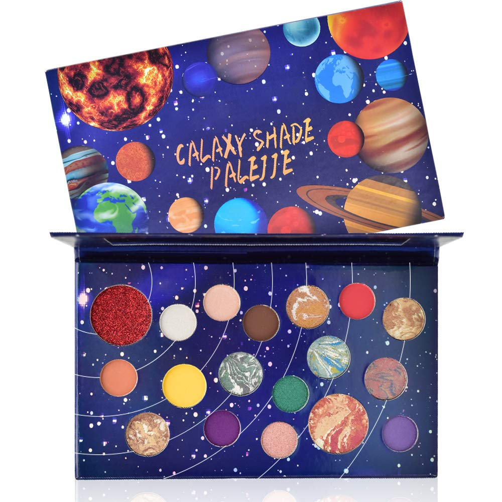 FREEORR 18 Colors Galaxy Shade Palette, Long Lasting Waterproof Multi Reflective Shimmer Matte Glitter Pressed Pearls Eyeshadow Makeup Pallet