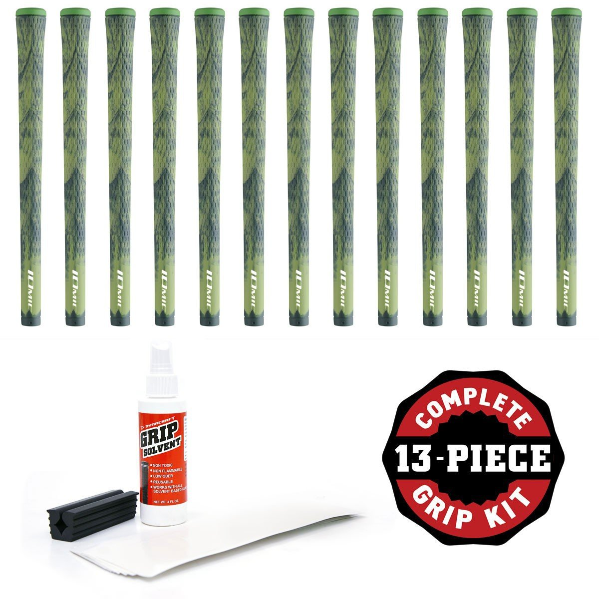 Iomic Sticky Grip Kit with Tape, Solvent and Vise Clamp (13-Piece), Camo Green