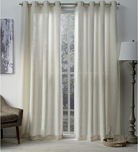 Exclusive Home Curtains Sparkles Heavyweight Metallic Fleck Textured Linen Window Curtain Panel Pair with Grommet Top, 54×108, 2 Piece