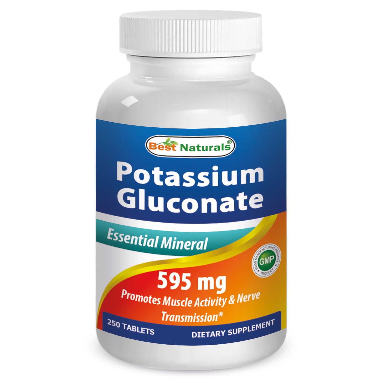 Best Naturals Potassium Gluconate Supplement 595 Mg Tablet, 250 Count