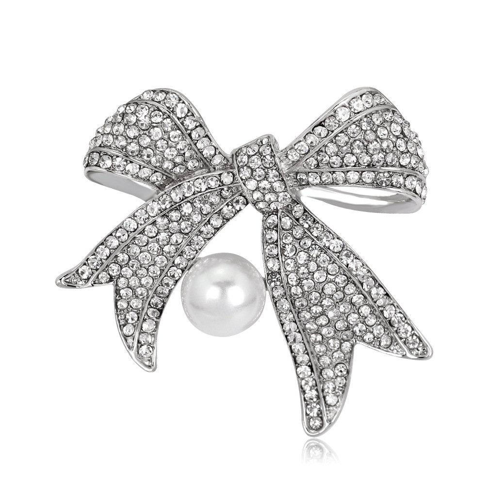 MUZHE Shining Crystal Ribbon Bow Brooch Pin with pearl for Women Girls Wedding Party (silver)