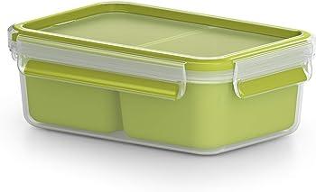 Emsa Clip&Go Snack - Recipiente hermético de plástico con 2 compartimentos