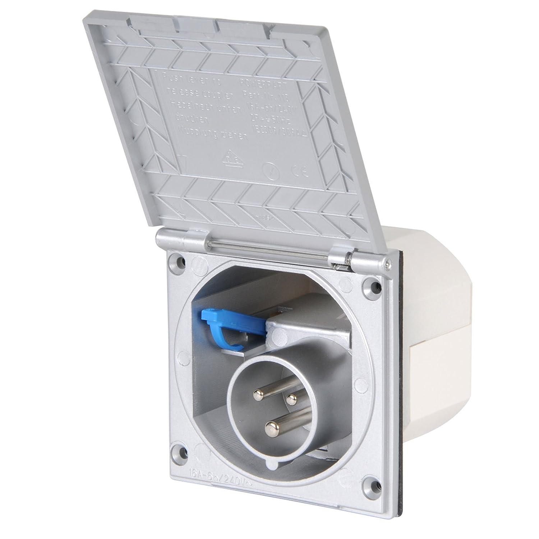 CEE Aussensteckdose silber Spritzwasser geschü tzt IP 44 200-250V, 16A, 3 polig fü r Wohnwagen, Wohnmobil oder Boot Powerpart