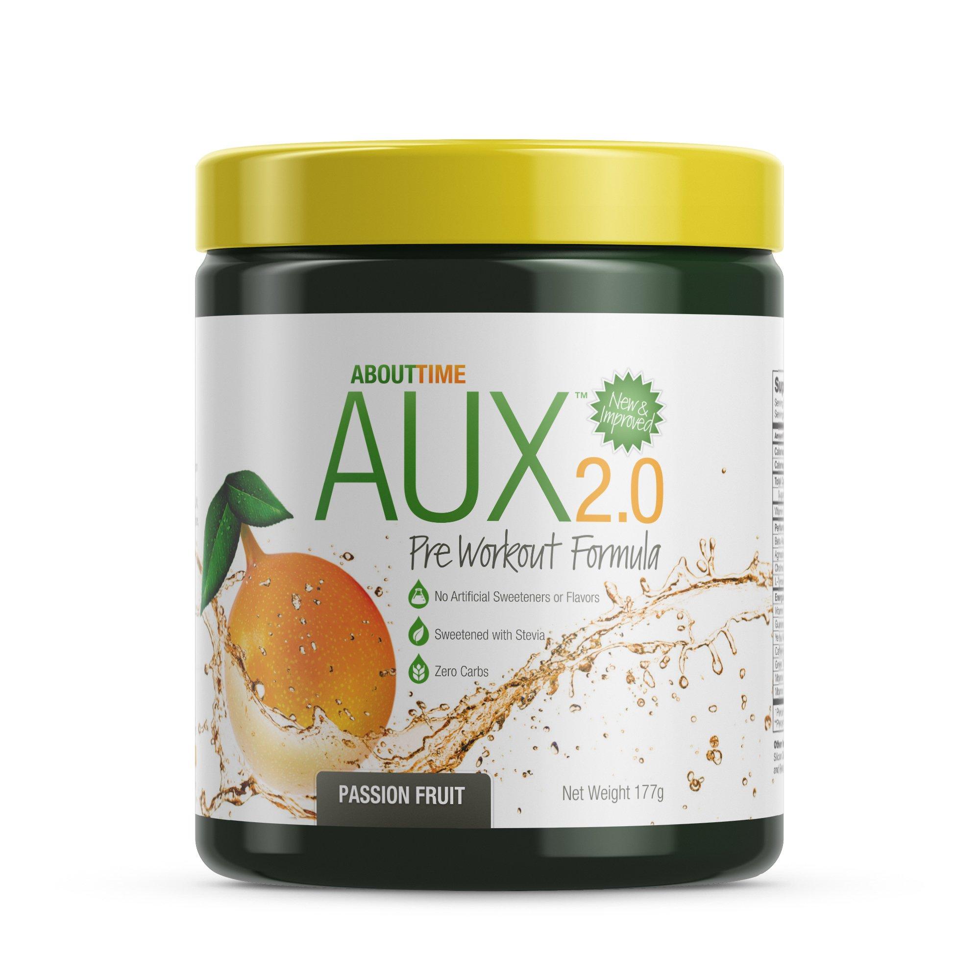 About Time AUX Preworkout Passion Fruit, 30 Servings - Performance Blend, Energize and Restore Formula, 0 Sugars, 0 Calories, 0 Fat