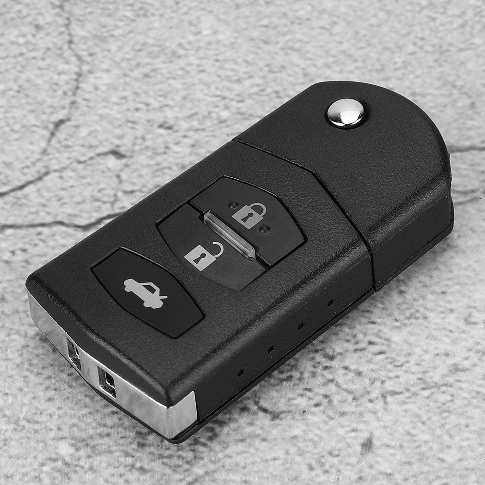 Terisass Car Remote Control Folding Flip Key Fob Case Shell With Key Metal Embryo Replacement 3 Buttons Auto Key Shell Case Fit for Mazda 2 3 5 6 RX8 MX5 Black ABS Material