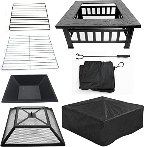 JupiterForce 32″ Metal Fire Pit Square Outdoor Fire Barbecue Table