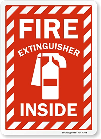 6x6  Reflective Fire Extingusher Inside Sticker Decal Adhesive Vinyl Emergency