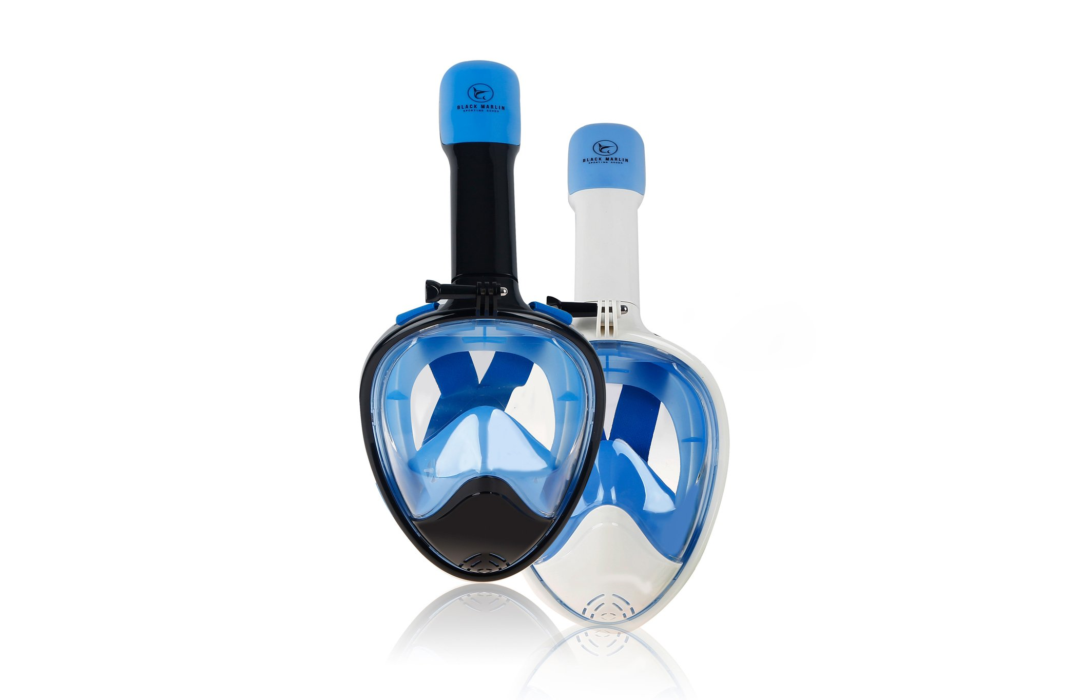 Upgraded 2020 Full Face Snorkel Mask Set Dry Top System Foldable 180 Degree Panoramic View Snorkeling Mask Package Set For Adults with Camera Mount, Anti-Leak, Anti-Fog Free Gear Bag & Manual Included by BLACK MARLIN