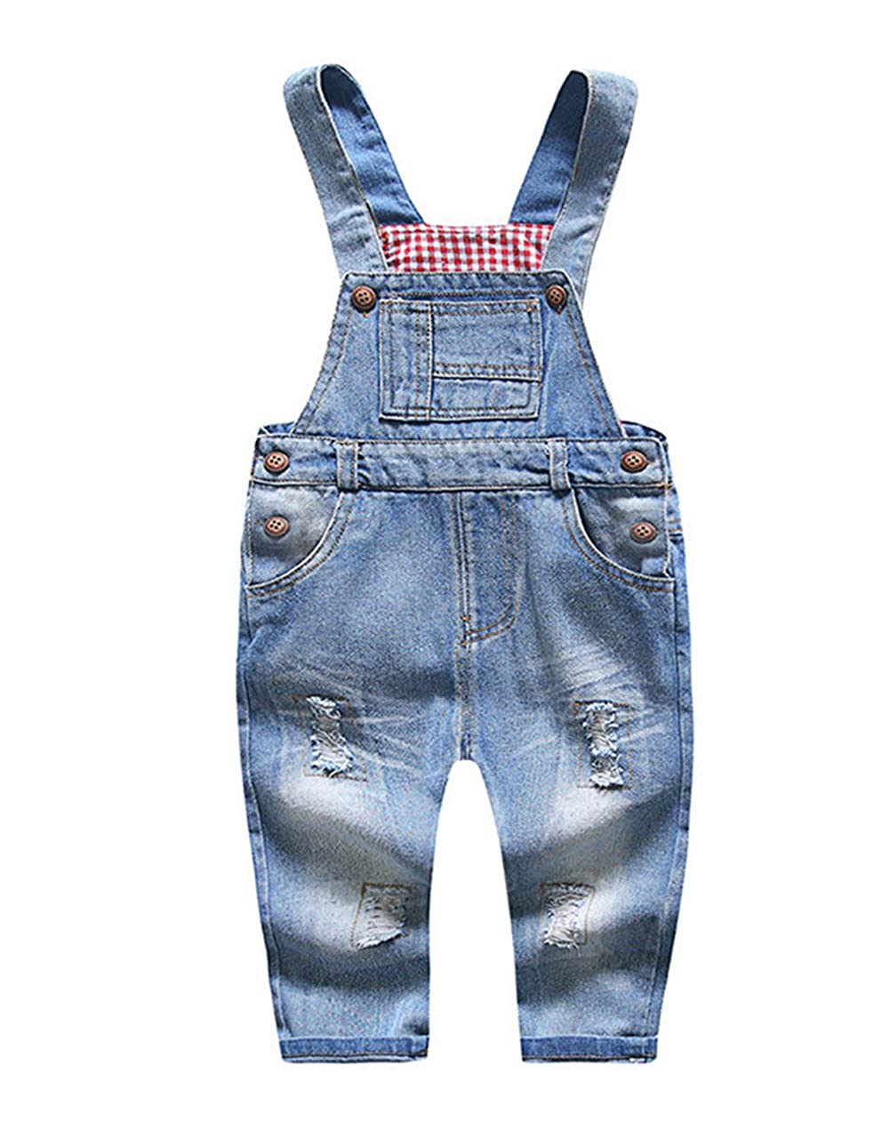 Kidscool Baby & Little Boys/Girls Blue & Black Denim Overalls