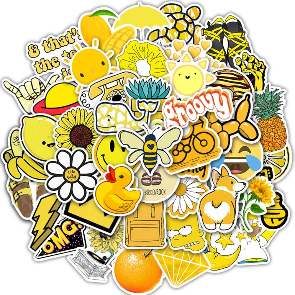 Evoio Yellow Stickers for Water Bottles Pack Aesthetic for Laptop Big Cute Stickers Yellow Waterproof Trendy Gifts for Teens Waterbottle Hydroflask Girls Boys Kids(50 PCS)