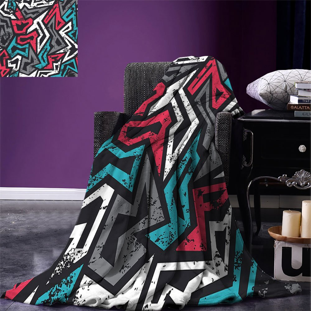 smallbeefly Grunge Digital Printing Blanket Abstract Shapes in Graffiti Art Style Underground Hip Hop Culture Funky Street Wall Summer Quilt Comforter Multicolor