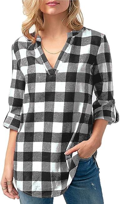 Kyerivs Camisas a Cuadros Buffalo Check para Mujer Blusa con Cuello en V Manga Corta Casual Blusa Larga