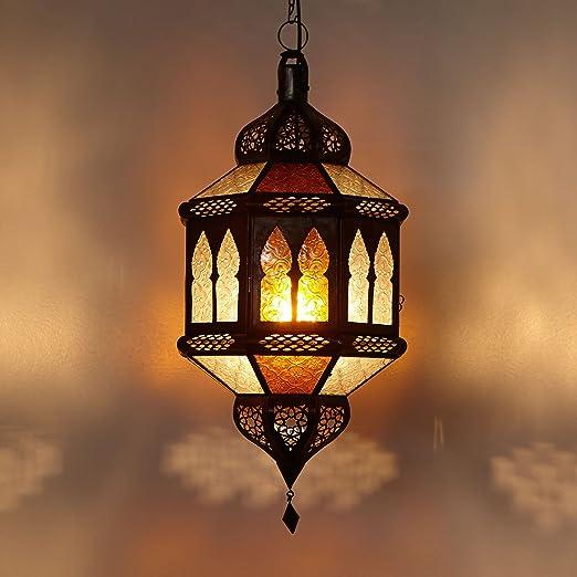 Marrakesch L1372 - Lámpara de techo de estilo oriental (50 cm de altura, metal y cristal), diseño marroquí, color amarillo y blanco