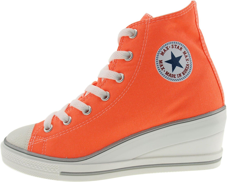 Maxstar Women's 7H Zipper Low Wedge Heel Sneakers B01G54B71K 8.5 B(M) US|Neon Orange