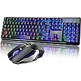 Combo de teclado e mouse recarregável com tecla suspensa e sensação mecânica retroiluminada 2,4 G teclado sem fio para jogos