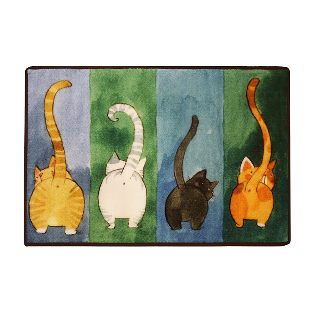Cute Cat Litter Mat, Kitty Butt Watercolor Painting, Traps Litter from Box and Cats, Soft Pet Mat on Kitty Paws, Non-Slip, Easy to Clean, Green Blue, 19.6x31.5 inch