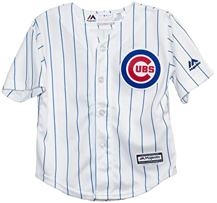 on sale 6b706 8ed93 MAJESTIC Chicago Cubs Home Pinstripe Cool Base Toddler Jersey (2T)