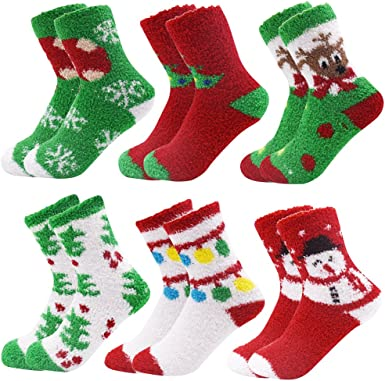 6 Pairs Ladies Soft Fluffy Cosy Bed Socks Winter Warm Christmas Gift Casual Xmas