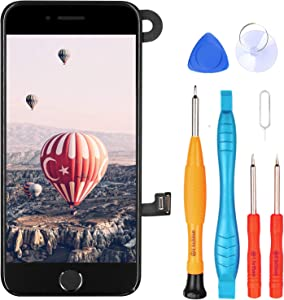 Ayake for iPhone 7 Screen Replacement with Home Button, Full Assembly Retina LCD Touch Display Digitizer with Front Facing Camera+Earpiece Speaker+Proximity Sensor+Tools for A1660, A1778, A1779(Black)
