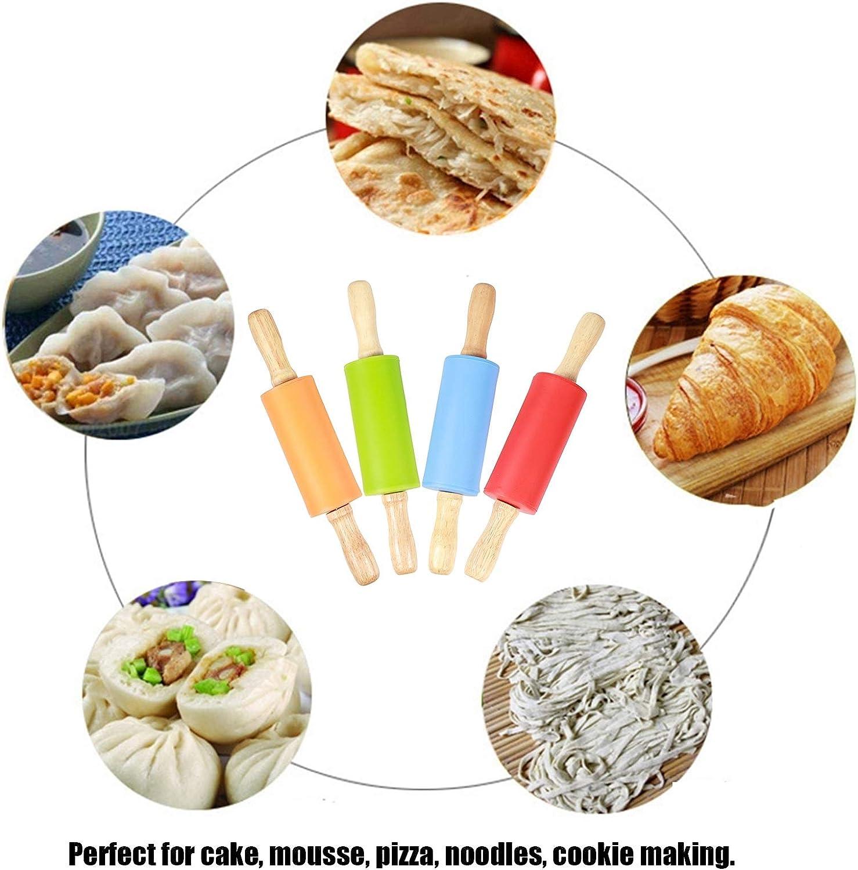 outil de cuisson pour la cuisine /à domicile Surface antiadh/ésive et poign/ées en bois confortables Mini rouleau /à p/âtisserie en silicone pour enfants
