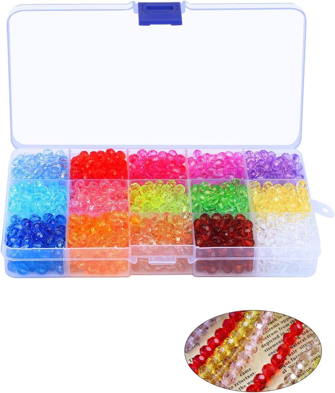 LAITER 1500 piezas Cuentas facetadas 15 colores Rojo Azul (Colorido llamativo + Moda) Pulseras/collar/Pendientes/Atrapasueños/Fabricación de joyas de acrílico de 6 mm