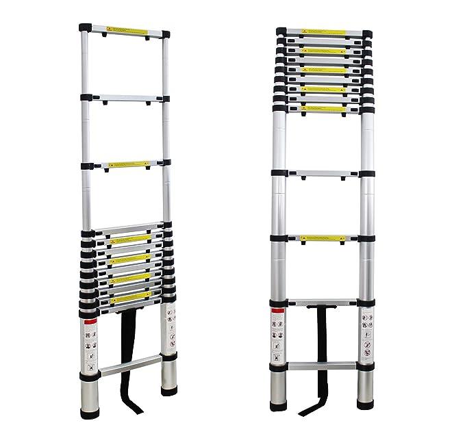 EN 131 Extra gap : 30 cm Leogreen Ausziehbare Leiter Teleskopleiter GRATIS Tragetasche 3,8 Meter Maximale Belastbarkeit: 150 kg Leiter ausgeklappt Abstand zwischen den Sprossen