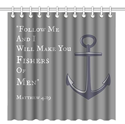 Wknoon 72 X Inch Shower CurtainMatthew 4 19 Bible Verse Anchor Quotes