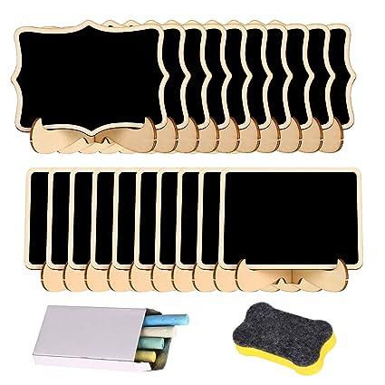 20 piezas Pizarras de Tiza mini Pequeña para Fiestas, Bodas, Mesas, Números, Carteles + 4 tizas de Color y borrado de Pizarra