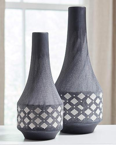 Ashley Furniture Signature Design – Dornitilla Vases – Set of 2 – Contemporary – Black White