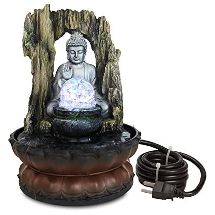 TIED RIBBONS Buddha Statue Decorative Water Fountains For Indoor Outdoor Living Room Garden Tabletop Waterfall Home